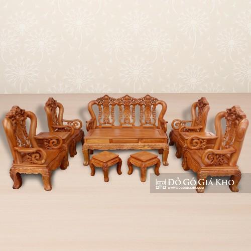 Bàn ghế gỗ gõ đỏ Louis hoa lá tây tay 12 kiểu Pháp - BG054