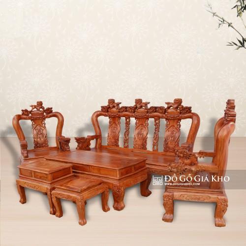 Bàn ghế gỗ hương đá tay 12 chạm nghề - BG003
