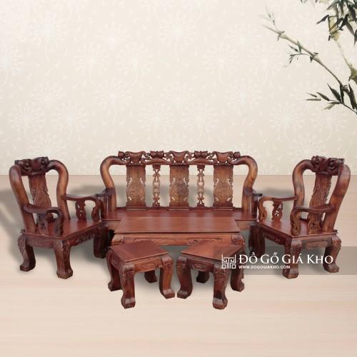 Salon gỗ Tràm chạm Đào tay 12- BG038