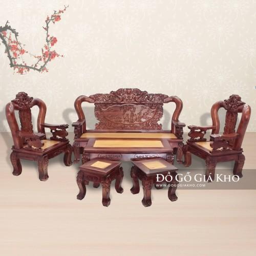 Bộ bàn ghế chạm mặt gõ chạm rồng bát tiên tay 12 - BG021