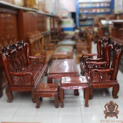 Salon gỗ Gụ tay 12 chạm Hoa Hồng | Đồ Gỗ Giá Kho